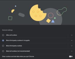 Setări Cookies Google Chrome