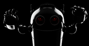 An evil bot with red eyes