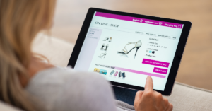 Woman purchasing shoes online