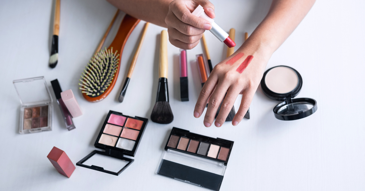 Make-up products tested on hand for skin swatches marketing campaigns