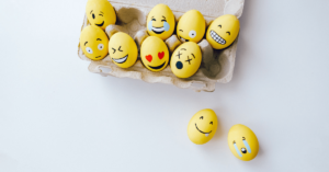 Easter eggs decorated with emoji