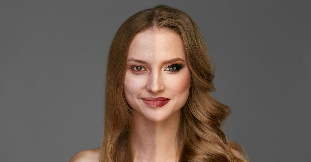 Model who used make-up for half of her face for a before and after marketing campaign