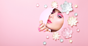 Model with pink make-up for cosmetics marketing campaign