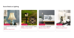 Home and garden online shop displaying special offers for lamps