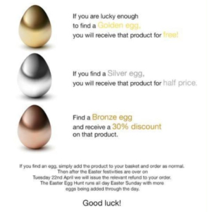 Easter decorated eggs used for an online marketing campaign