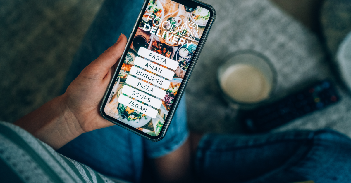 person using a food app