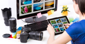 Person searching for images online