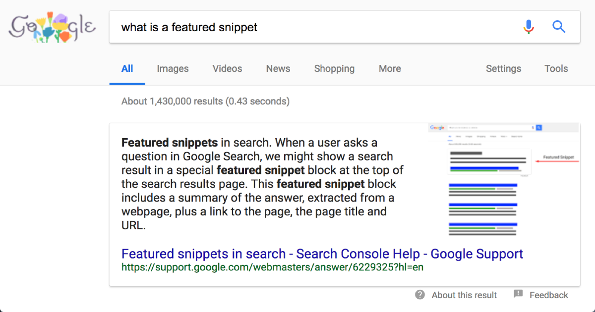 Illustration of a featured snippet